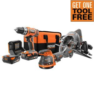 Ridgid 18V Lithium-Ion Cordless 3-Tool Combo Kit with (2) 2.0 Ah Lithium-Ion Batteries, Charger, and Bag + One Free Tool of Cho
