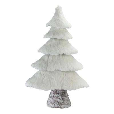 20.5 in. Rustic Birch Wood Tree with Faux Snow Canopy Christmas Decoration