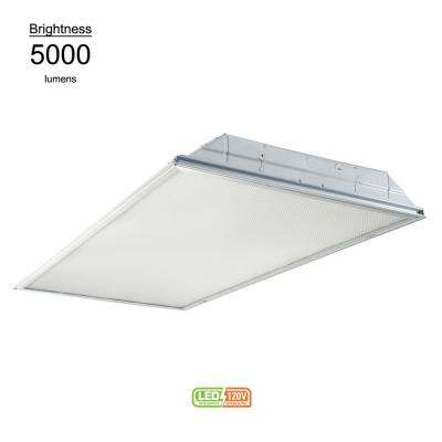 2 ft. x 4 ft. White Integrated LED Drop Ceiling Troffer Light with 5000 Lumens, 4000K
