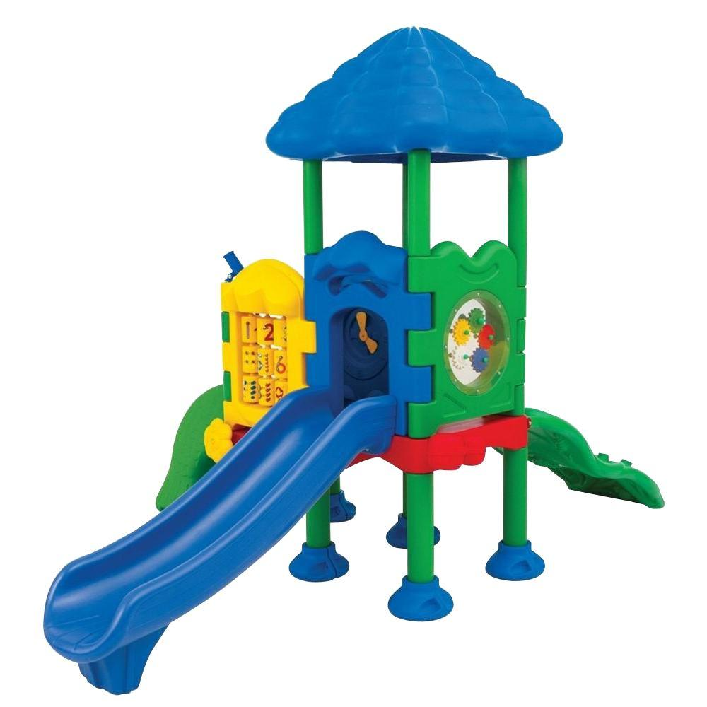 Ultra Play Discovery Center Commercial Playground 2 Deck with Roof Anchor Bolt Mounting
