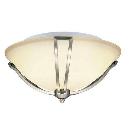 Gambit 17 in. 3-Light Satin Nickel Flushmount with White Glass Shade