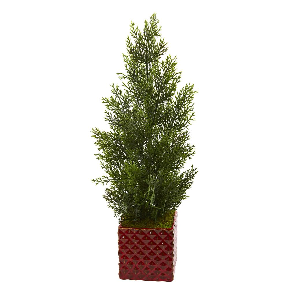 Nearly Natural 25 in. Indoor/Outdoor Mini Cedar Pine Artificial Tree in Red Planter A remarkable artificial mini cedar pine tree that effortlessly captures the spirit of the forest with its rich green color and lifelike delicate leaves. Standing in an included square red planter, this artificial tree's simple and classic look will be your new favorite home or office decor, plus it will never need water and requires zero maintenance. Place it at the edge of the console table and set a large wall mirror as a backdrop to create a classic arrangement.
