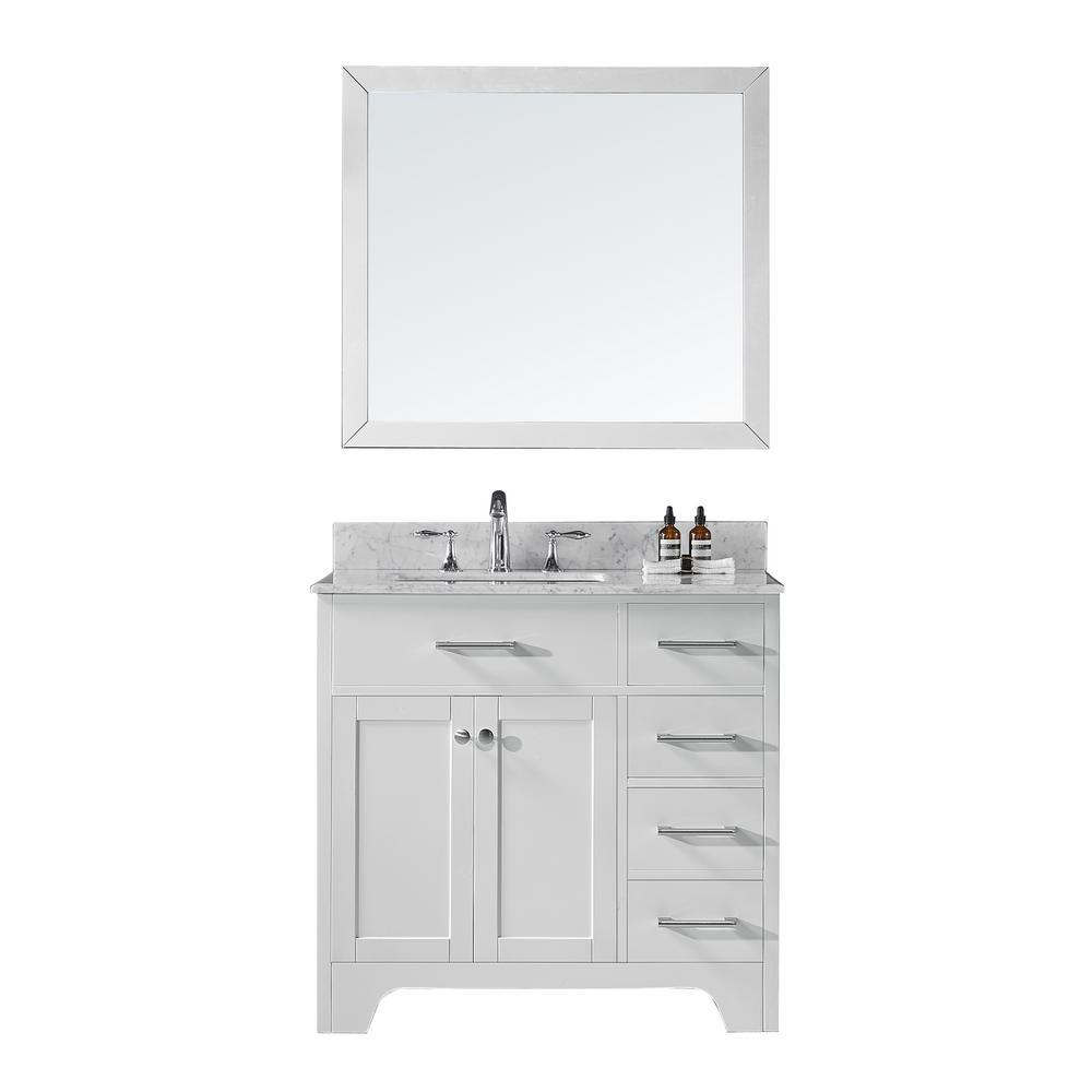 36 in. D Single Sink Bathroom Vanity in White with Vanity Top in Carrara White Marble and Mirror Set