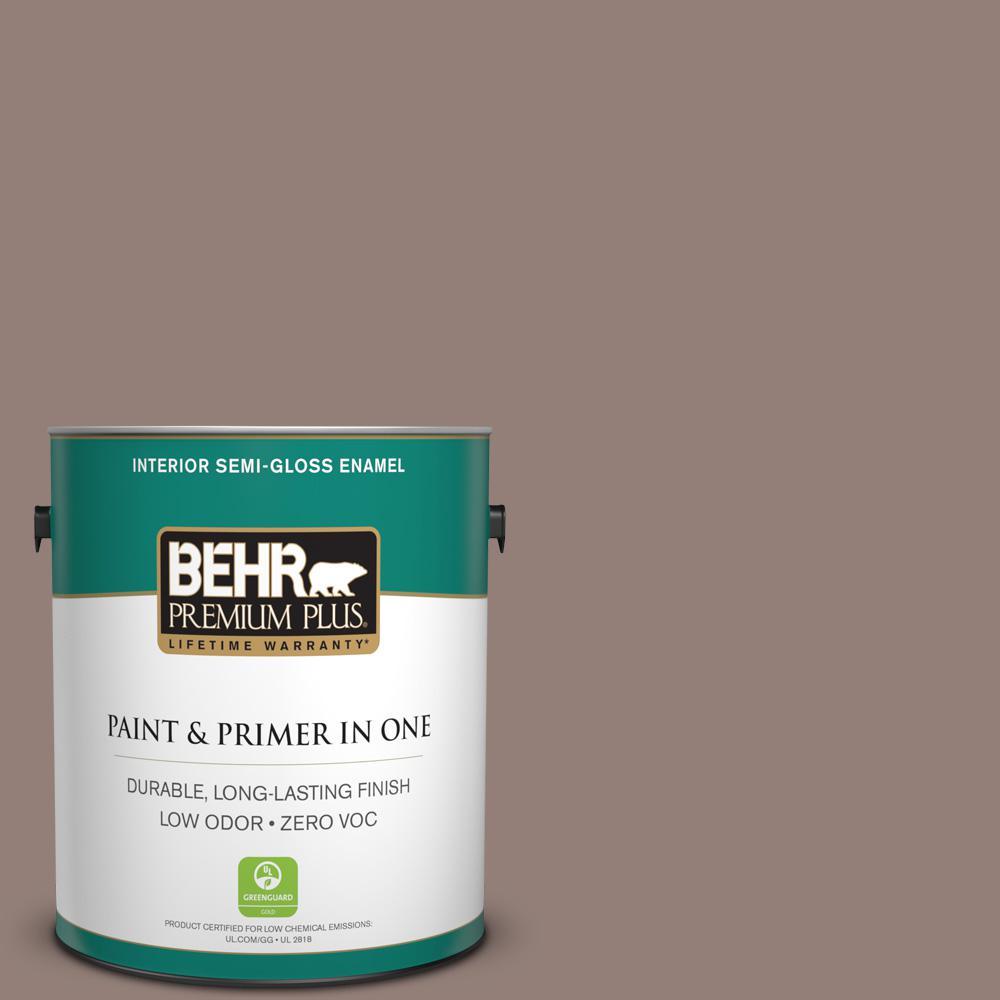 BEHR Premium Plus 1-gal. #BNC-22 Chocolate Chiffon Semi-Gloss Enamel Interior Paint
