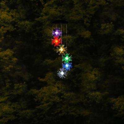 28 in. Tall Solar Flower Windchime with LED Light