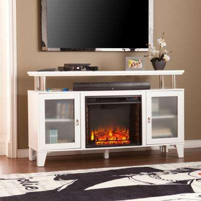 Fulton 60 in. W Media Electric Fireplace in White