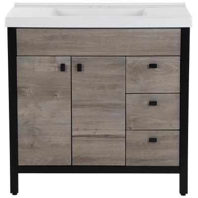 Greyford 37 in. W x 22 in. D Bath Vanity in White Washed Oak with Cultured Marble Vanity Top in White with White Sink