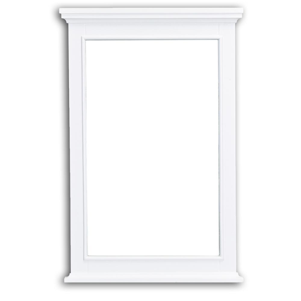 Elite 24 in. W x 36 in. H Framed Rectangular Bathroom Vanity Mirror in White