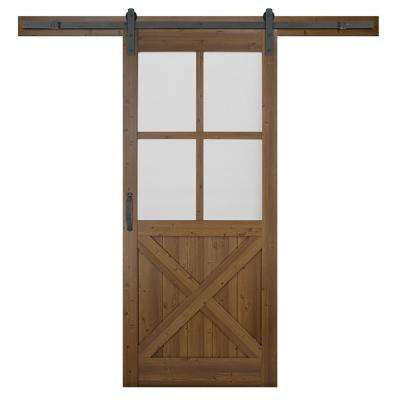 36 in. x 84 in. 4-Lite Crossbuck Nutmeg Interior Sliding Barn Door Slab with Hardware Kit