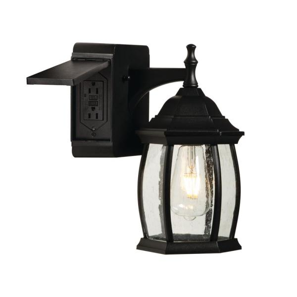 Grace 1-Light Outdoor Wall Sconce with 2 Built-In GFCI Outlets, Black