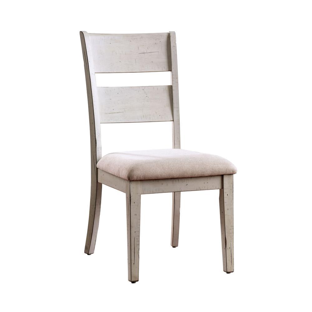 Kaylen Antique White Fabric Ladder Side Chair (Set of 2)