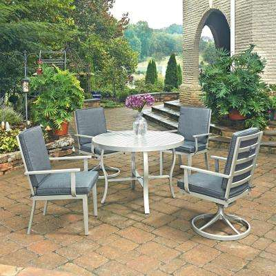 South Beach Grey 5-Piece Round Extruded Aluminum Outdoor Dining Set with Gray Cushions