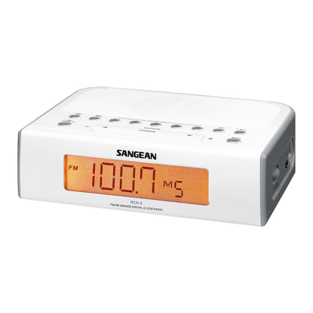 FM/AM Digital Tuning Alarm Clock Radio (White) Sangean has established a reputation for manufacturing the highest quality standards and performance radios for 40 years. With the Sangean FM/AM Digital Tuning Alarm Clock Radio, you can now wake up to the sound of your favorite radio station. The easy to 0.9 in. display, digital tuner, and 10 FM/AM preset stations, makes this the ideal alarm clock and radio. Color: White.