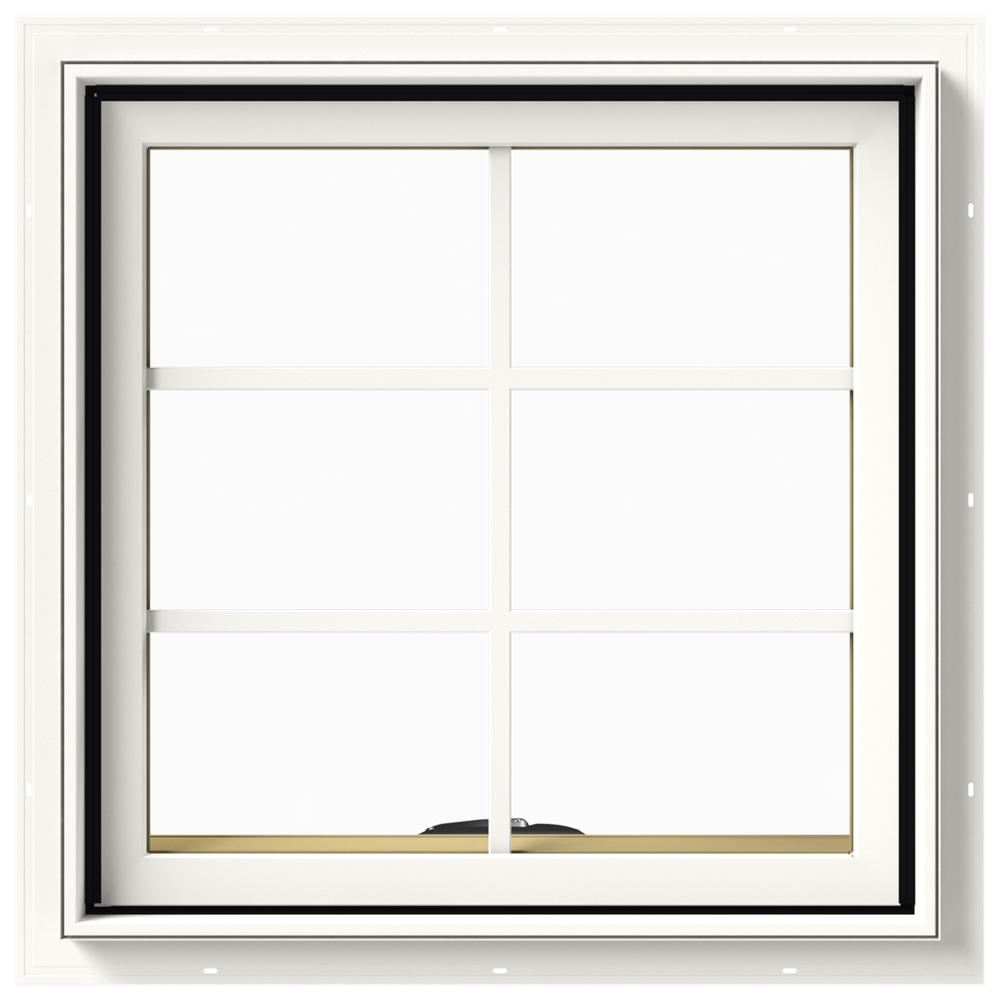 JELD-WEN 24 in. x 24 in. W-2500 Series White Painted Clad Wood Awning Window w/ Natural Interior and Screen