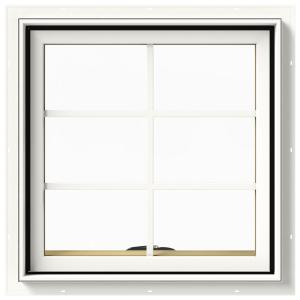 24 in. x 24 in. W-2500 Series White Painted Clad Wood Awning Window w/ Natural Interior and Screen