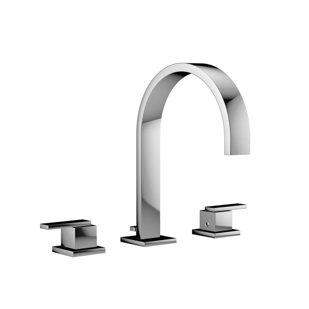MINCIO 8 in. Widespread 2-Handle High Arc Bathroom Faucet in Polished Chrome