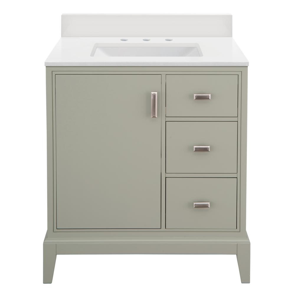 Home Decorators Collection Shaelyn 31 in. W x 22 in. D Vanity in Sage Green RH with Engineered Marble Vanity Top in Winter White with White Sink