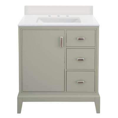 Shaelyn 31 in. W x 22 in. D Vanity in Sage Green RH with Engineered Marble Vanity Top in Winter White with White Sink