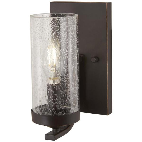 Minka Lavery Elyton 1 Light Downtown Bronze With Gold Highlights Bath Light With Clear Seedy Glass 4651 579 The Home Depot