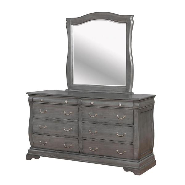 41.5 in. H x 64 in. W x 20.25 in. D Brunswick Gray Dresser and Mirror Set 8-Drawers