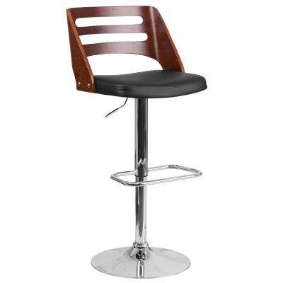 Walnut Bentwood Adjustable Height Barstool with Side Panel Slot Back and Black Vinyl Seat