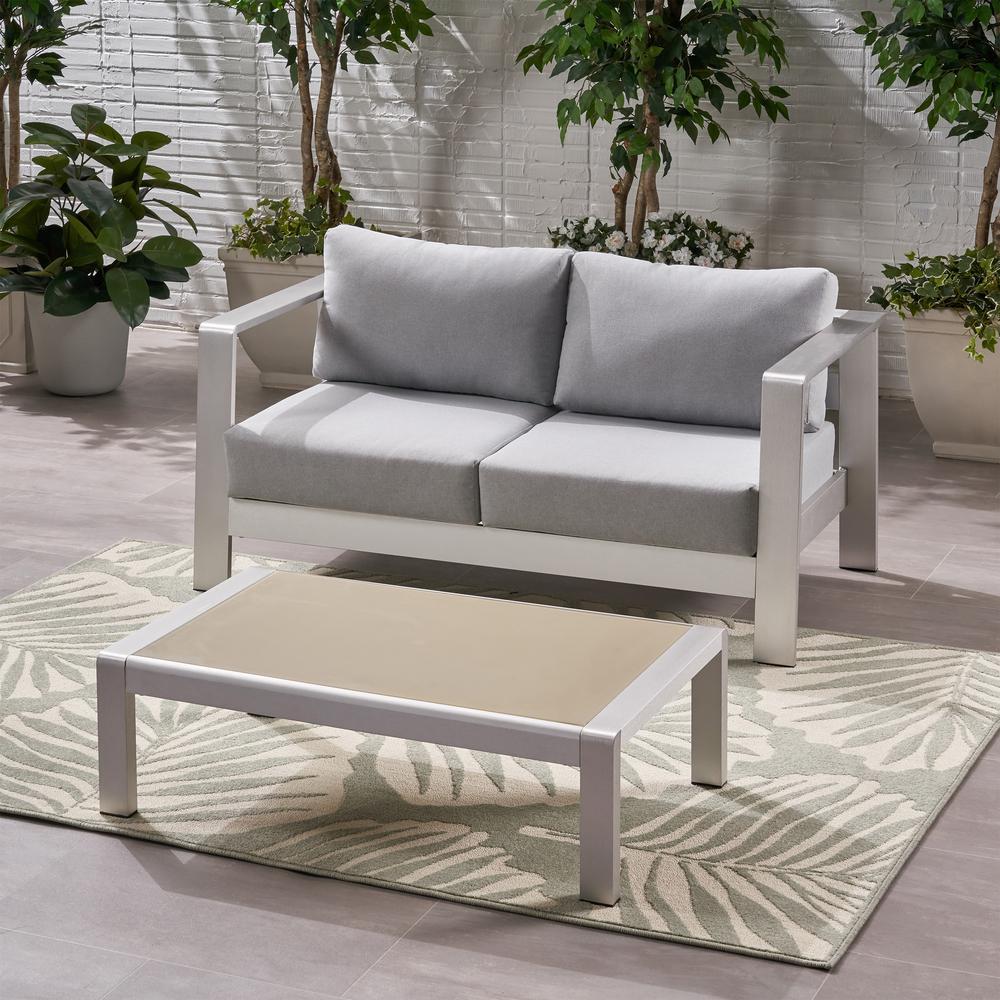 Bayport Silver 2-Piece Aluminum Patio Conversation Set with Light Grey Cushions