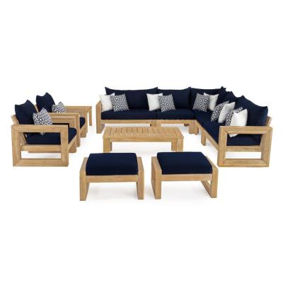 Benson 11-Piece Wood Patio Conversation Set with Sunbrella Navy Blue Cushions