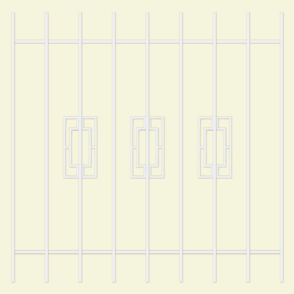 Unique Home Designs Modern Trifecta 48 in. x 48 in. White 9-Bar Window Guard-DISCONTINUED