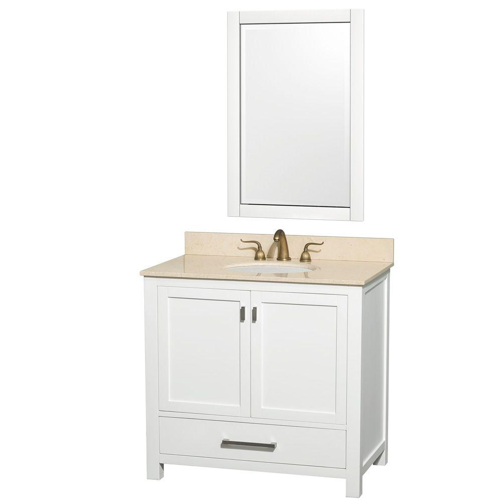 Wyndham Collection Abingdon 37 in. Vanity in White with Marble Vanity Top in Ivory and Mirror-DISCONTINUED