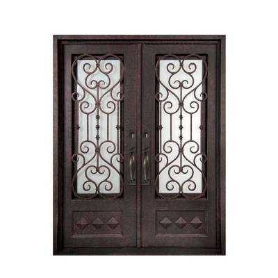74 in. x 97.5 in. Vita Francese Classic 3/4 Lite Painted Oil Rubbed Bronze Wrought Iron Prehung Front Door