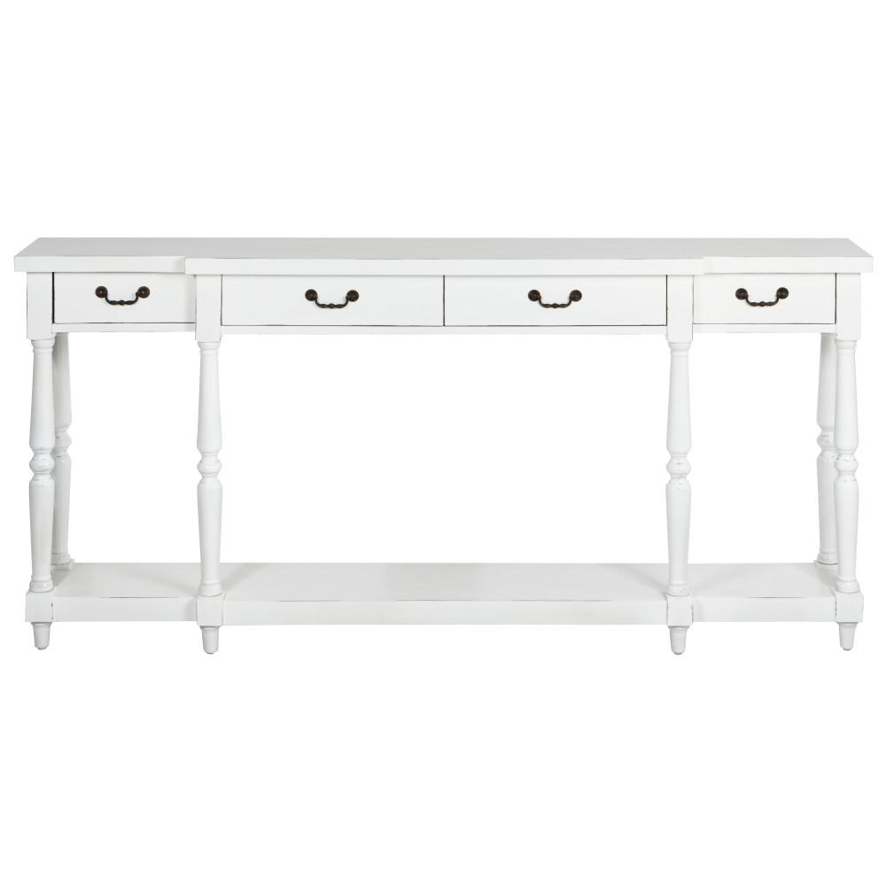 Mitchell Rubbed White Storage Console Table1506100410 The Home Depot