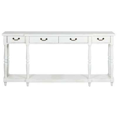 Mitchell Rubbed White Storage Console Table