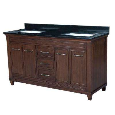 Cambridge 60.5 in. W x 22 in. D Vanity in American Walnut with Granite Vanity Top in Black with White Basin
