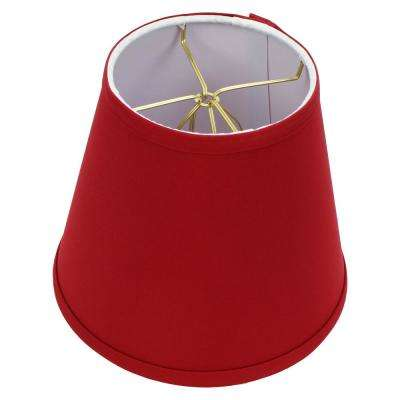 Fenchel Shades 5 in. Top Diameter x 8 in. Bottom Diameter x 7 in. Slant Empire Lamp Shade - Linen Rich Red