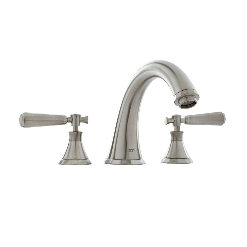 GROHE Kensington 2-Handle Deck-Mount Roman Tub Filler in Brushed ...