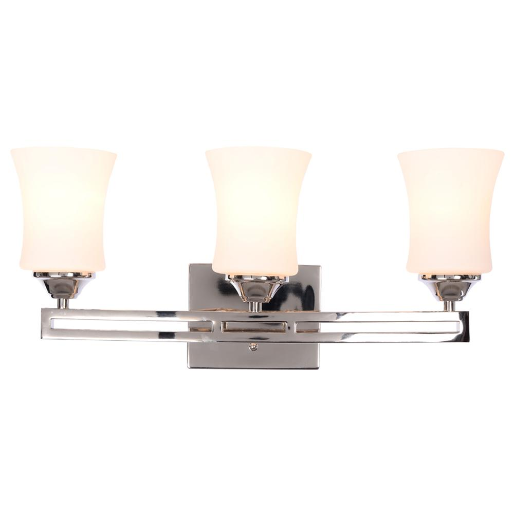 Hampton Bay Landon 3-Light Polished Nickel Vanity Light with Dual ...