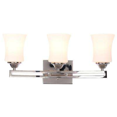 Larson 3-Light Polished Nickel Vanity Light with Dual Bar and Frosted Glass Shades