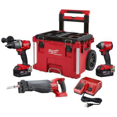 M18 FUEL 18-Volt Lithium-Ion Brushless Cordless Combo Kit (3-Tool) with Two 5.0 Ah Battery and PACKOUT Rolling Tool Box