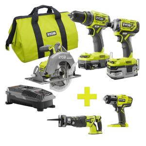 Ryobi 18-Volt ONE+ Brushless Kit 3-Tool w/Saw & Impact Wrench Deals