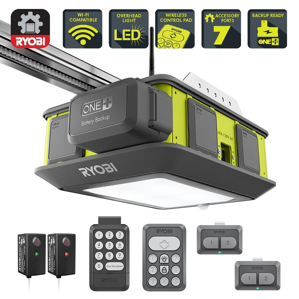Ryobi Ultra Quiet 2 Hp Belt Drive Garage Door Opener With Battery