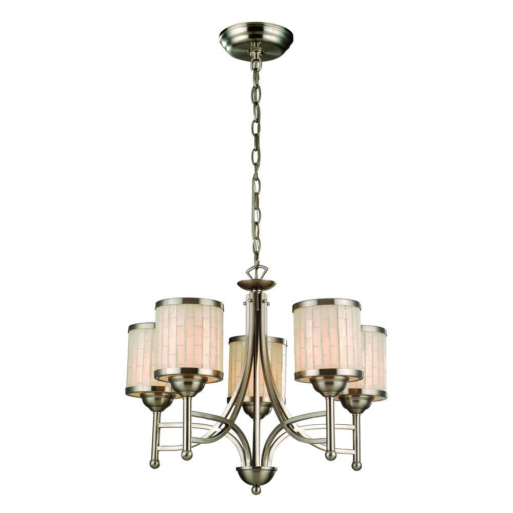 Catalina Lighting 5-Light Brushed Steel Chandelier with Mosaic Glass Shade-DISCONTINUED