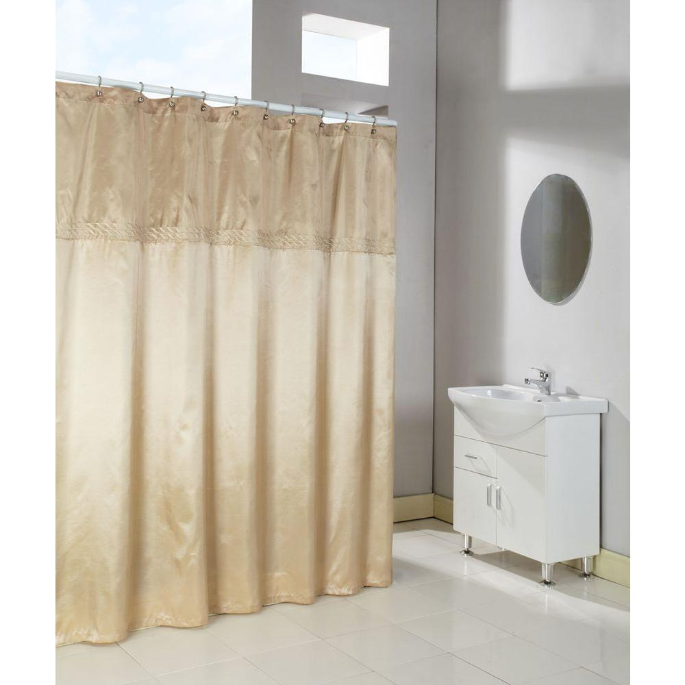 Home Fashions International Cornice 72 In. Horizontal Embroidered Shower  Curtain In Almond And Barley Faux