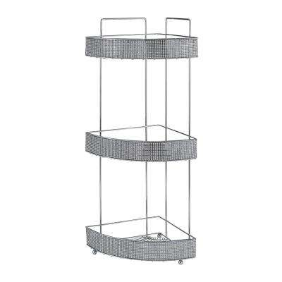 8.66 in. x 8.66 in. x 23.82 in. 3-Tier Corner Rack BLK Pave Diamond