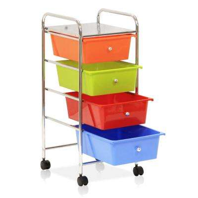 Wayar 4-Shelf Chrome 4-Wheeled 4-Drawer Trolley in Rainbow