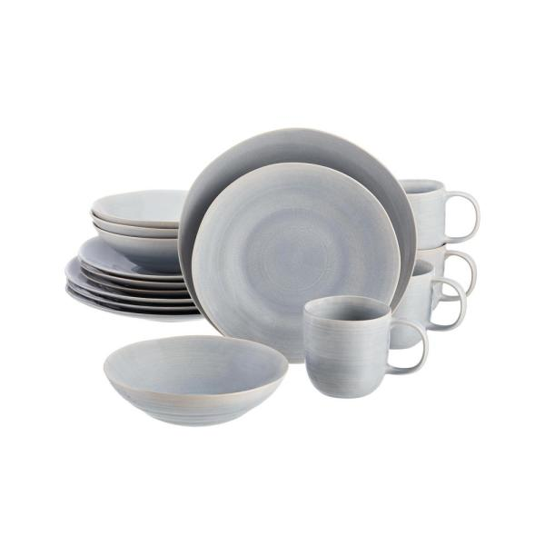 Ellery 16-Piece Reactive Glaze Raindrop Blue Stoneware Dinnerware Set (Service for 4)