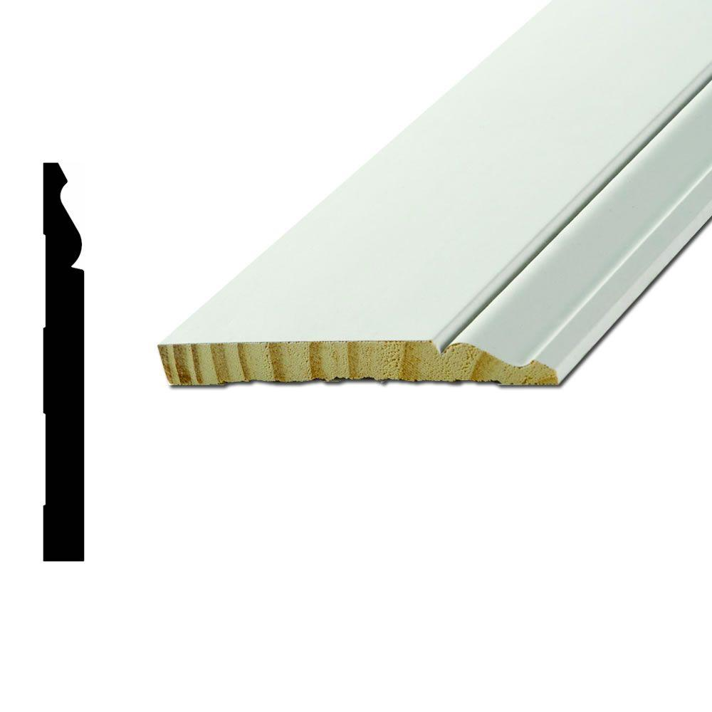 L163E 9/16 in. x 5-1/4 in. x 16 ft. Primed Finger-Joint Pine Pro-Pack Base Moulding (5-Pieces)
