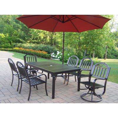 Bon 8 Piece Metal Outdoor Dining Set With Burnt Orange Umbrella