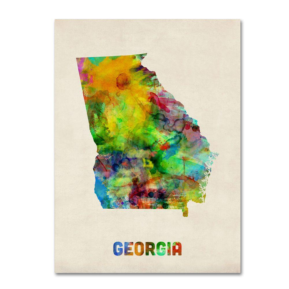 Trademark Fine Art 47 in. x 35 in. Georgia Map Canvas Art