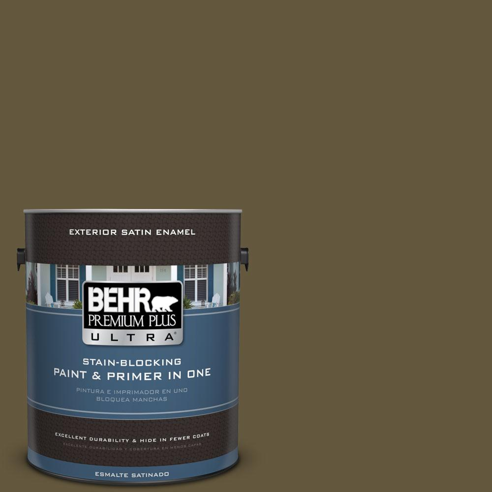 BEHR Premium Plus Ultra 1-gal. #PPU7-1 Moss Stone Satin Enamel Exterior Paint