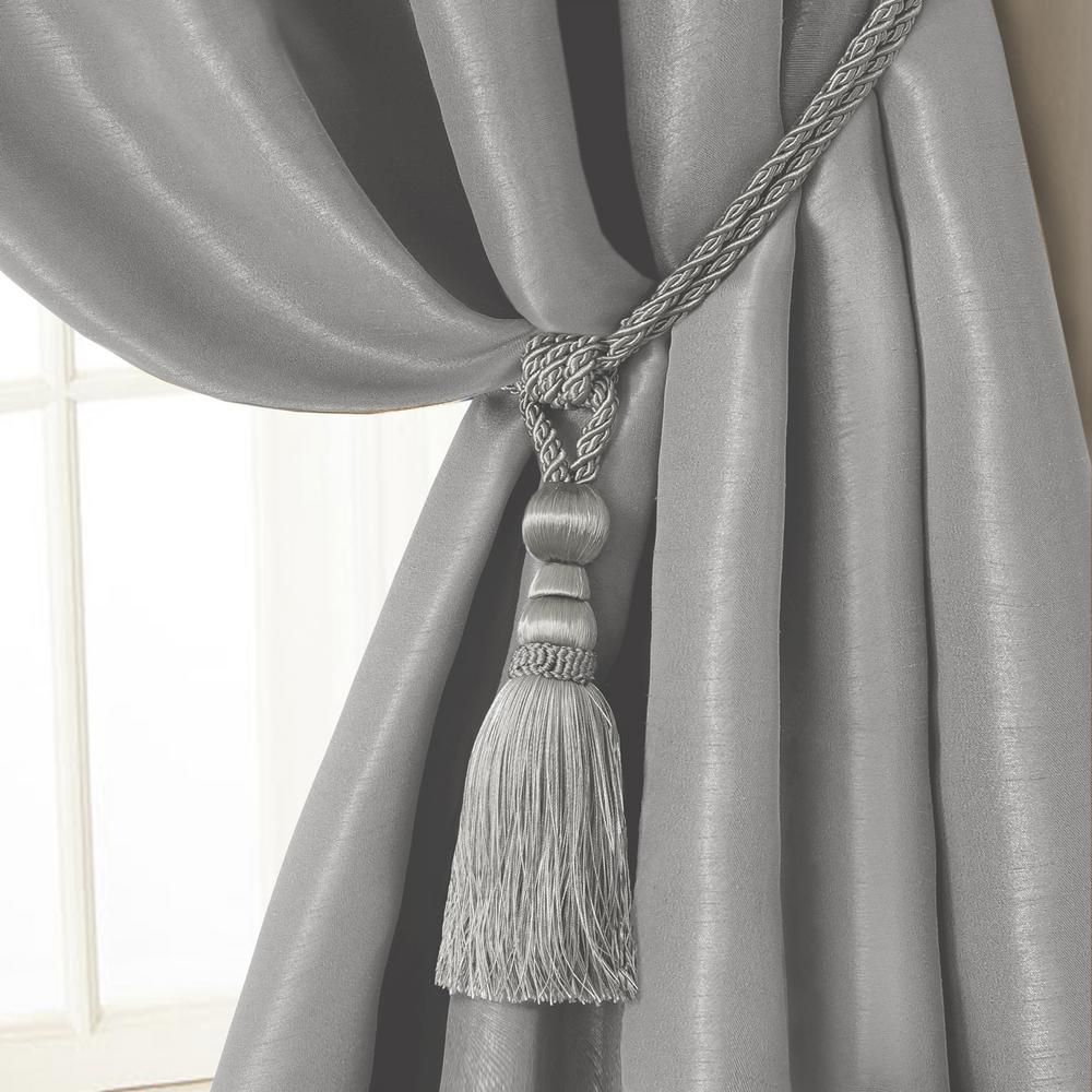 Amelia 24 in. Tassel Tieback Rope Cord Window Curtain Accessories in Silver
